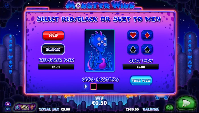 Monster Wins playability is improved thanks to a gamble feature