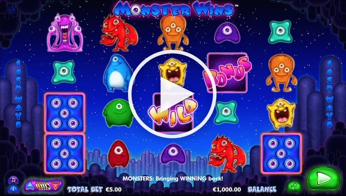 Gameplay Screenshot of Monster Wins Online Slot Free Play