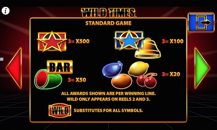 Pay Table and Symbols for Barcrest Wild Times Fruit Machine