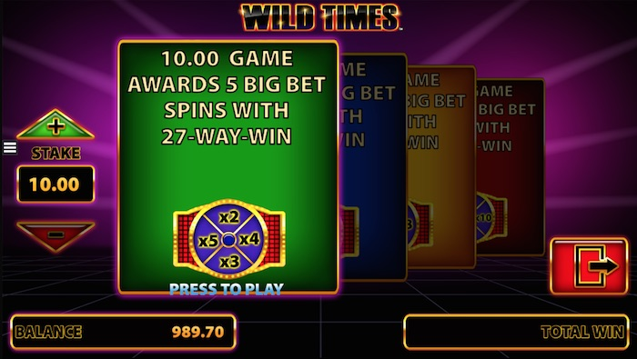 Play Big Bet Spins on the Wild Times Online Fruit Machine