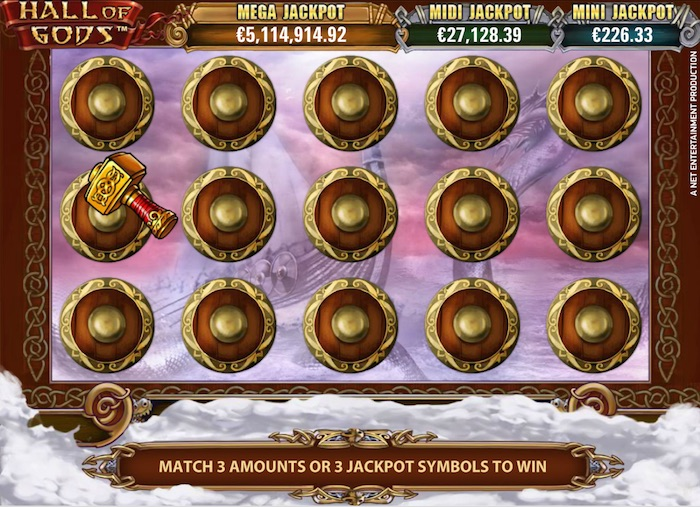 1 of 3 Jackpots can be won in the Thor Hammer Bonus Game