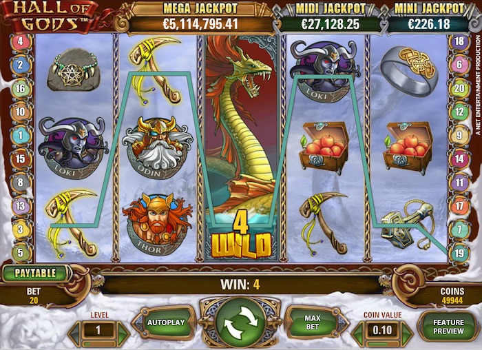 Gameplay Graphics for NetEnt Hall of Gods Progressive Slot