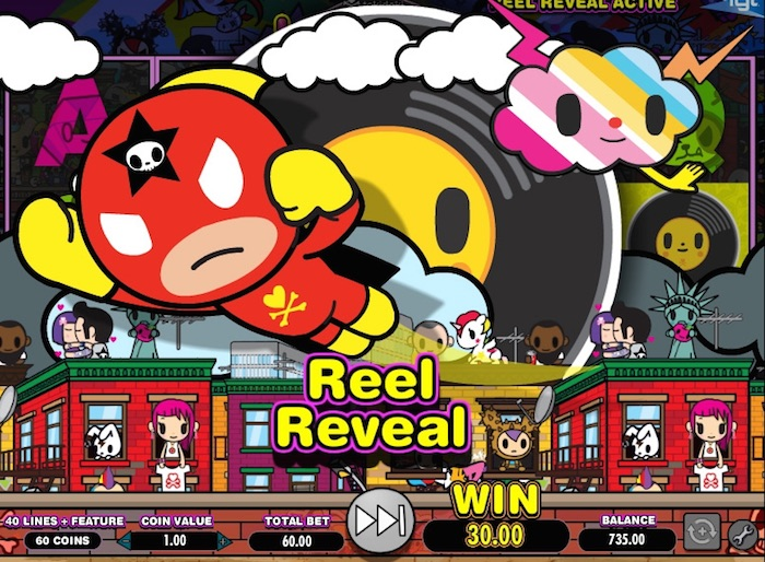 Player triggers Reel Reveal Bonus Game in Tokidoki Lucky Town