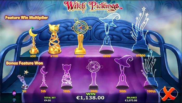 The Trophy Room Bonus is a performing feature of Witch Pickings