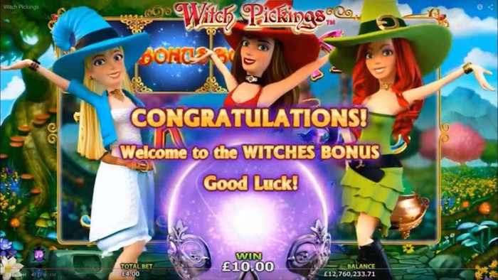 3 Scatter Symbols will trigger the Witches Bonus in Witch Pickings