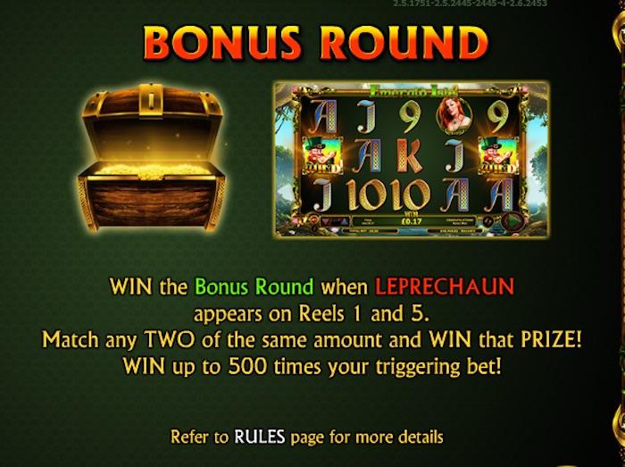 Leprechaun Bonus Round in Irish Slot Game Emerald Is