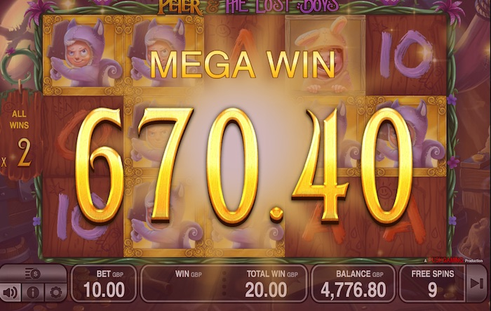 Big Win playing Free Spins in Peter and the Lost Boys