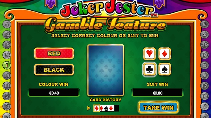 The Joker Jester Online Slot features a Gamble Feature on Wins