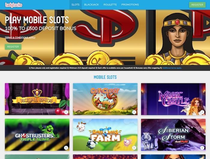 Screenshot of LadyLucks Mobile Casino Site