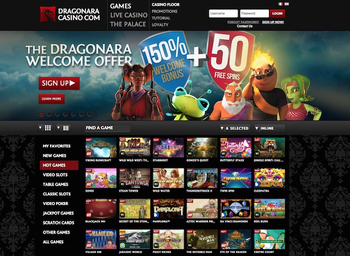 Slotsquad Casino Review Screenshot of Dragonaraonline.com