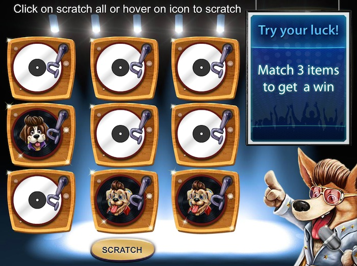 Scratchcard Bonus in Dog N Roll Casino Slot