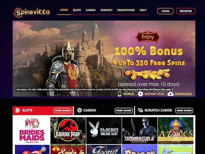 Spins Villa Casino Home Page Screenshot