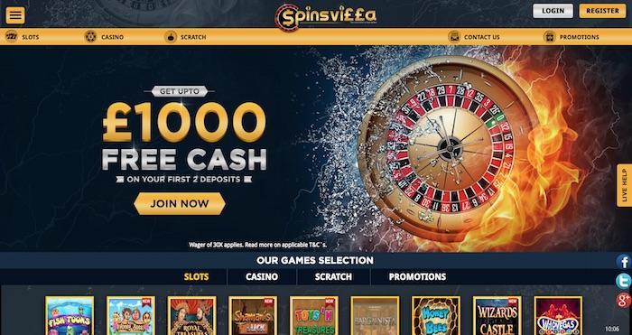Spins Villa Casino Home Page Screenshot