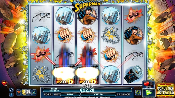 Graphics during spin of Superman Slot Game