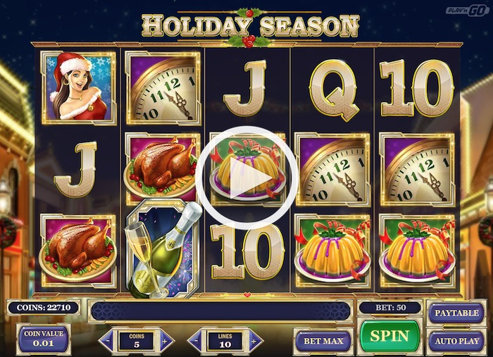 Screenshot of PlaynGo Holiday Season slot in free play mode