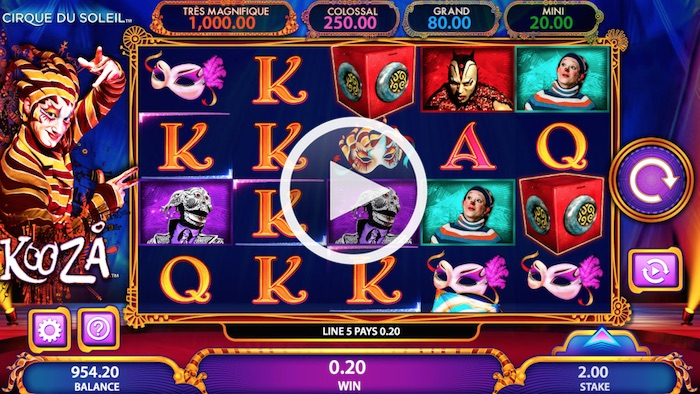 Bally Technologies Kooza Online Slot Screenshot