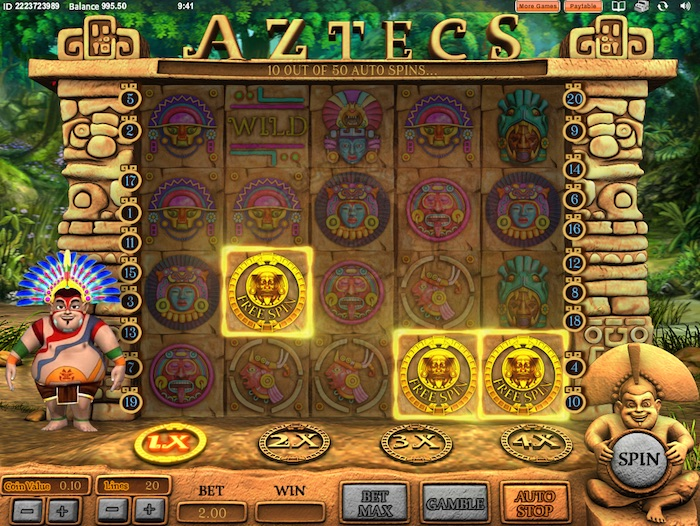 3 Aztec Symbols activate the Free Spins Bonus