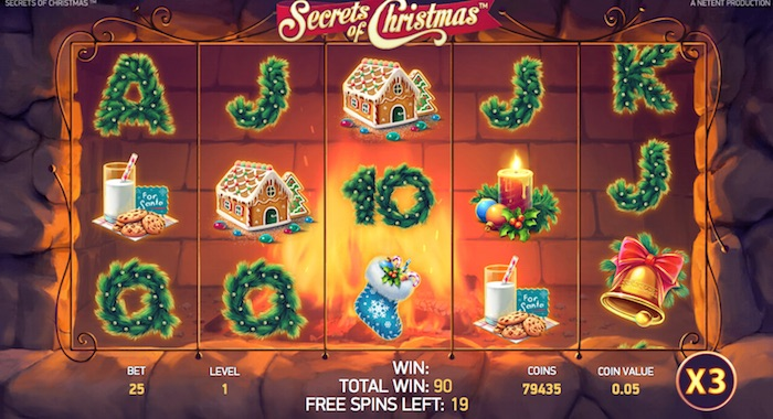 Screenshot of Free Spins Game activated playing Secrets of Christmas