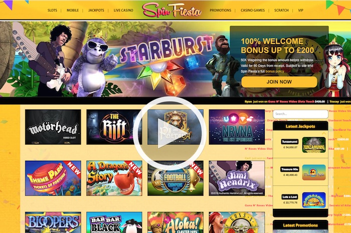 Spinfiesta.com Casino Review Home Screenshot