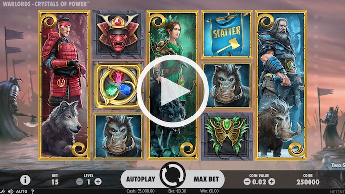 Screenshot of War Lords Crystals of Power Online Slot
