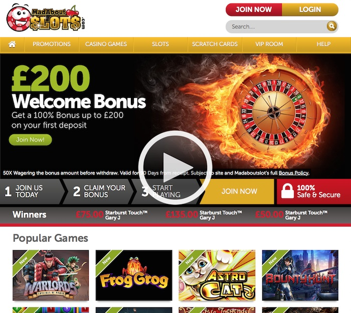 Mad About Slots Review Home Screenshot