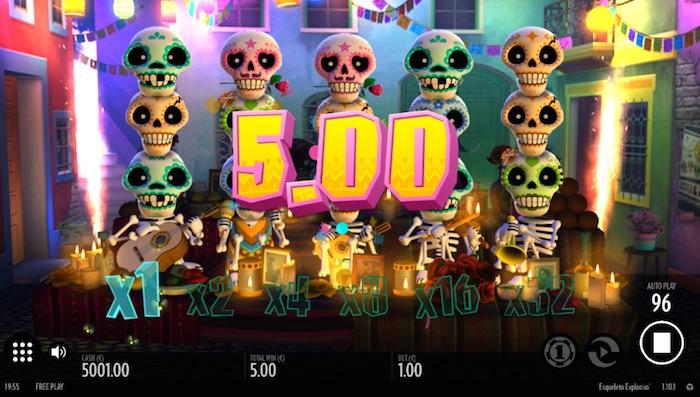 Multiplier Bonus activated playing Esqueleto Explosivo Online Slot