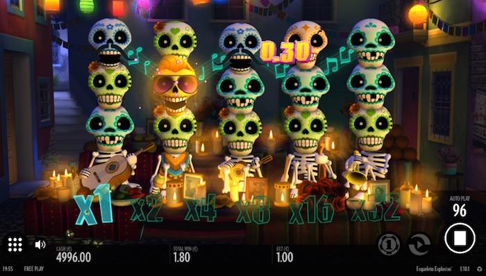 Explosive Wild Bonus in Esqueleto Explosivo Slot