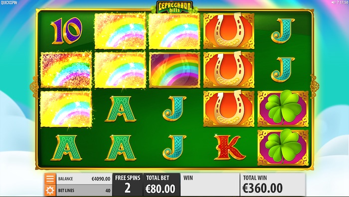 You can win 7 free spins in the Leprechaun Hills main feature