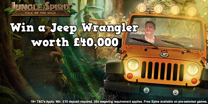 Win a Jeep Wrangler worth £40,000 and Jungle Spirit: Call of the Wild Free Spins