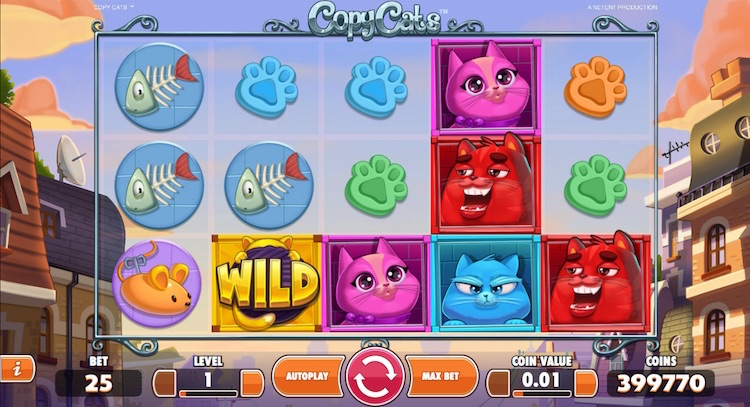 Deposit £30 Play £60 on new NetEnt Copy Cats Slot