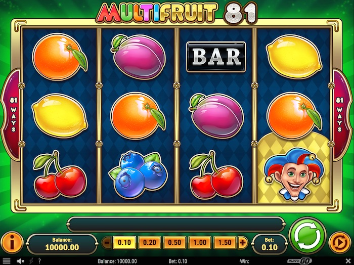 Deposit £30 Play £60 on new Play n Go Multifruit 81 Slot