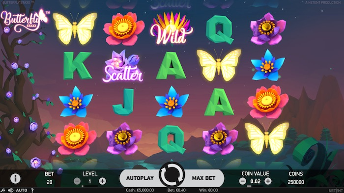 Screenshot of Butterfly Staxx Slot from NetEnt