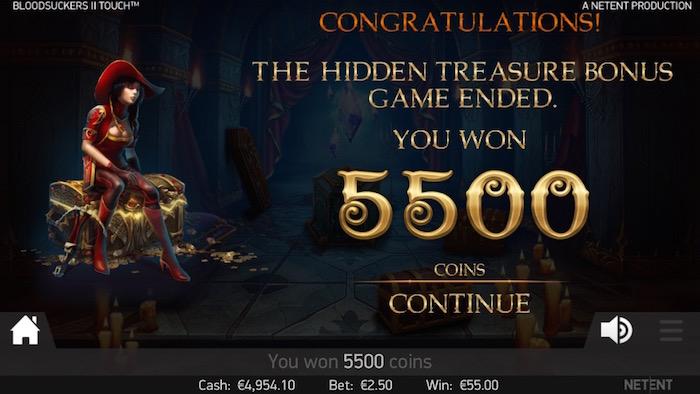 Blood Suckers II Touch Hidden Treasure Bonus Game on iPhone 6S