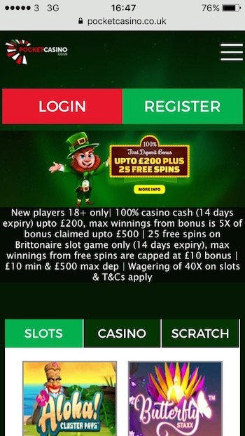Pocket mobile casino UK review