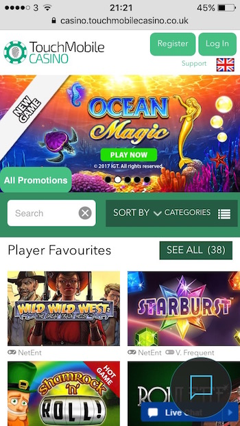 Touch mobile casino main menu page