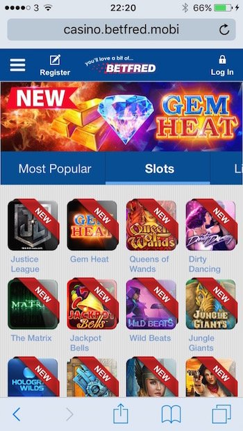 Betfred.com casino screenshot on mobile phone