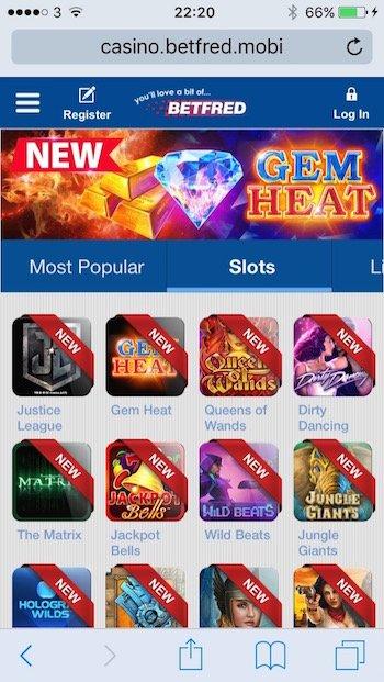Betfred.com casino screenshot on mobile phone