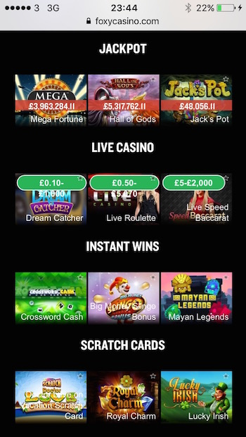 Foxy casino games include jackpot slots and scratch cards