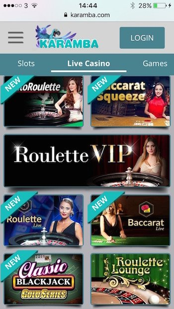 Karamba.com mobile roulette and live casino games