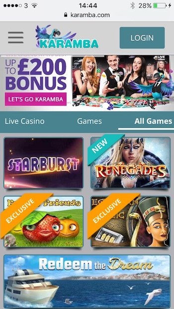 Karamba Casino on mobile