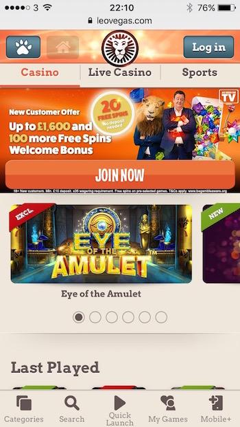 LeoVegas mobile casino home screenshot on iPhone