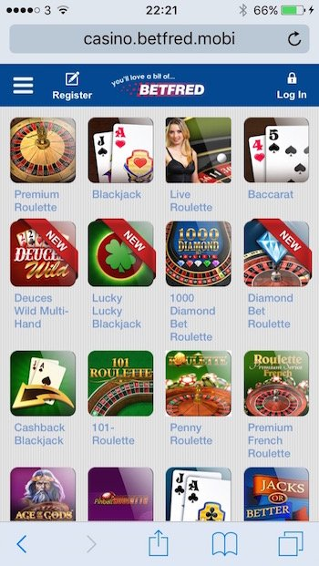 Mobile roulette menu at Betfred