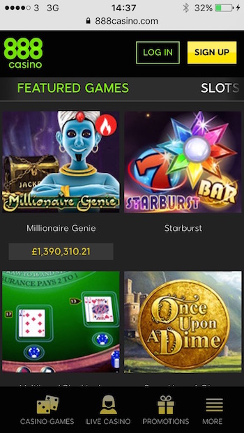 mobile slots at 888.com including jackpots