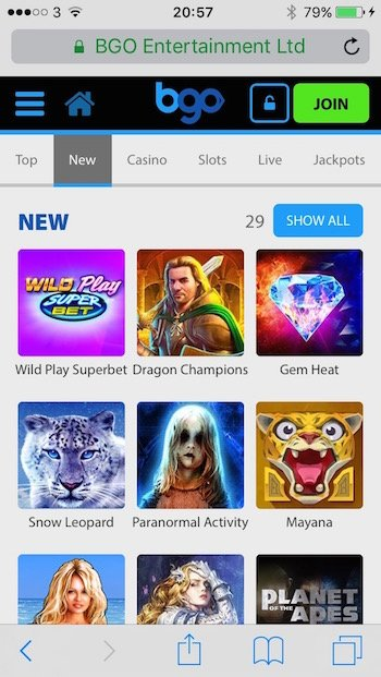 Select games and mobile slots at Bgo