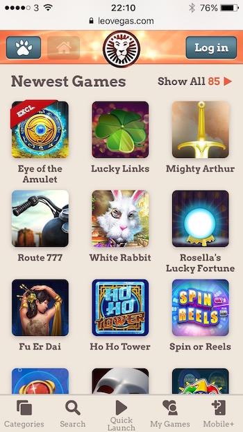 Newest mobile slots menu at LeoVegas.com