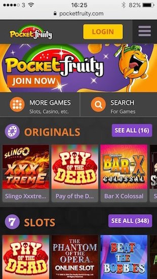 Pocketfruity.com mobile home screenshot