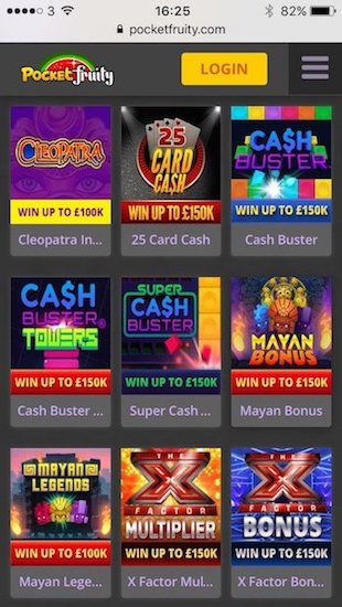 Games at Pocket Fruity Casino include Instant Wins