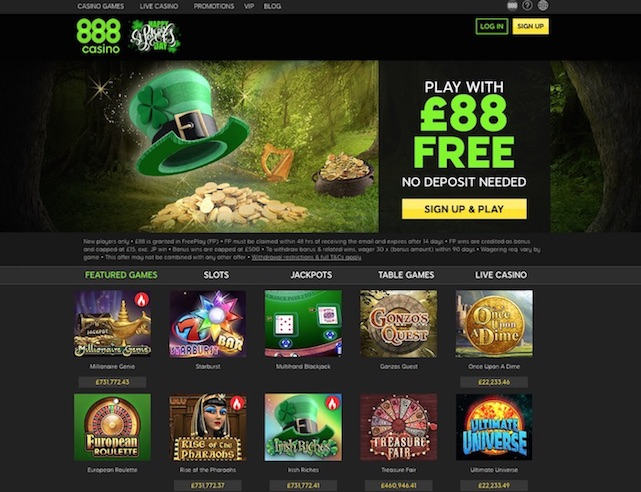 Screenshot of 888 Casino website UK Lobby