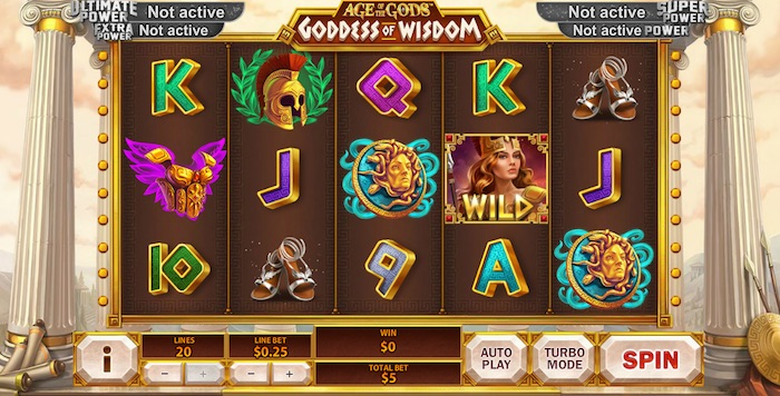 Screenshot of Age of the Gods Goddess of Wisdom Online Slot