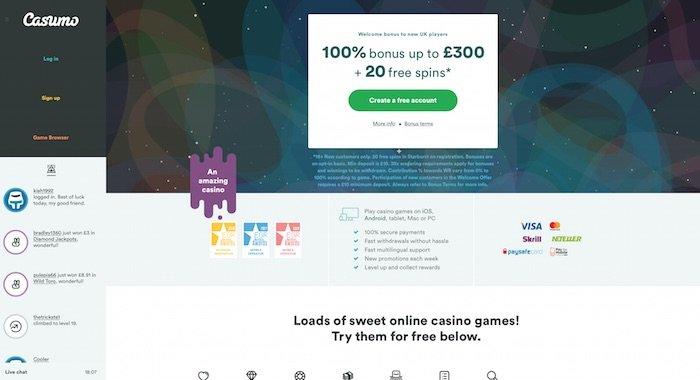 Casumo Home Page Screenshot